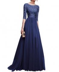New Winter Evening Dress Chiffon Evening Dress Long Skirt m blue