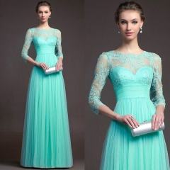 European and American New Long Sleeved Lace Hollowed Dress Evening Dress s green