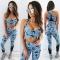 Women's Fashion Two Pieces Fashion Prints Sports Wear Clothes xl Blue