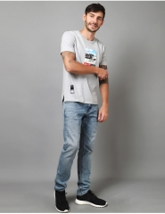 New round neck casual printing short sleeve men's cotton T-shirt male factory wholesale grey XXL cotton