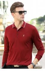 Autumn men's long sleeved T-shirt  pure color Lapel embroidered POLO shirt men's shirt red wine XXXL 40% cotton