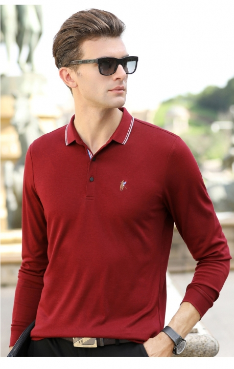 147b1f46 Autumn men's long sleeved T-shirt pure color Lapel embroidered POLO shirt  men's shirt red