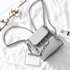 Stylish PU Leather Backpack Ring Design Travel Bag Women's Handbag grey f