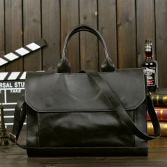 2018 New Style Men Leather Handbag  Laptop Bag Briefcase deep black 36*23(cm)
