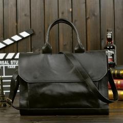 2018 New Style Men Leather Handbag  Laptop Bag Briefcase deep coffee 36*23(cm)