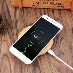New 3c digital hot style circular wood texture customizable logo mobile wireless charger woodwork 100*100*10mm