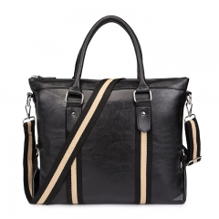2018 New Style Men Leather Handbag  Laptop Bag Briefcase deep black 36*12*31