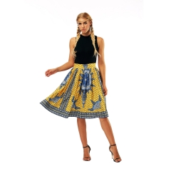 2018 New Fashion Yellow African Dashiki Skirt as picture s
