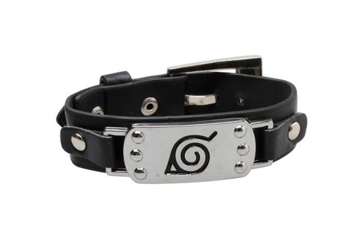 Adjustable Wristband Cool Naruto Leather Bracelet With Konohagakure Logo black m