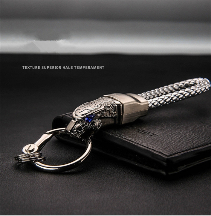 Jaguar Totem Car Keychain Boutique Zinc Alloy Metal Keychain Rotary Car key ring silver m