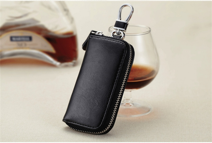 Leather Purse Car Key Case fashion Coin Zipper Wallet Key Holder Bag key  rings black m