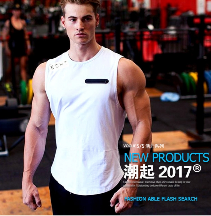 New Summer Men's Quick-drying Running Fitness Cotton Round Neck Basketball Vest XL White