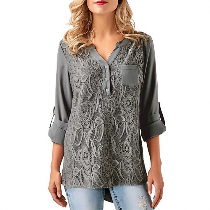 Spring New V-Neck Chiffon Shirt Women's Top Ladies Long Sleeve Tops Blouse Gray XL