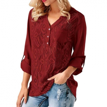 Spring New V-Neck Chiffon Shirt Women's Top Ladies Long Sleeve Tops Blouse red L