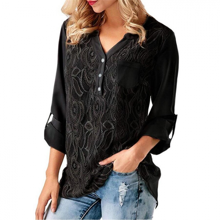 Spring New V-Neck Chiffon Shirt Women's Top Ladies Long Sleeve Tops Blouse black XL