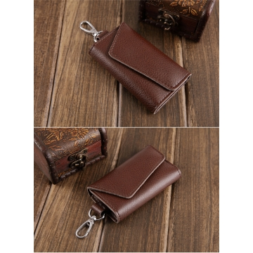 Mens Purse Genuine Leather Wallet Key Chain Holder Bag Key Ring Card Case brown m