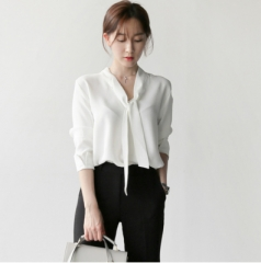 Fashion temperament simple V-neck white shirt long-sleeved loose bow chiffon women shirt white s