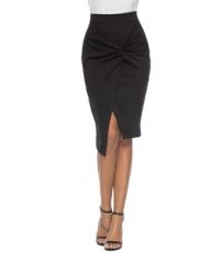 Irregular slim hem kinky skirt office lady black s