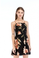Ladies dress Summer New Explosion Floral Black Sling women dress Black dresses s black