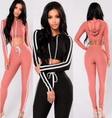 2018 women suit cotton quality comfortable ladies suit sexy two-piece sports suit black m