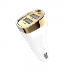 Fashion 5v 3.4A double usb port car charger mobile phone tablet computer quick charge champagne gold