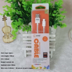 X6C type-c fast charging USB data cable white carton packaging