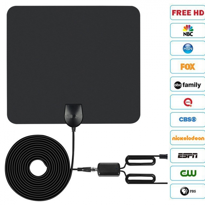 HDTV indoor television antenna, magnified 75 miles, 4K HD black 250*223*0.6mm
