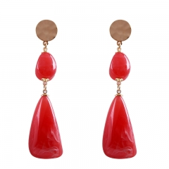 2017  Resin Stone Dangle Long Earrings Fashion Jewelry Charms Colorful Crystal  Long Drop Earrings red as picture