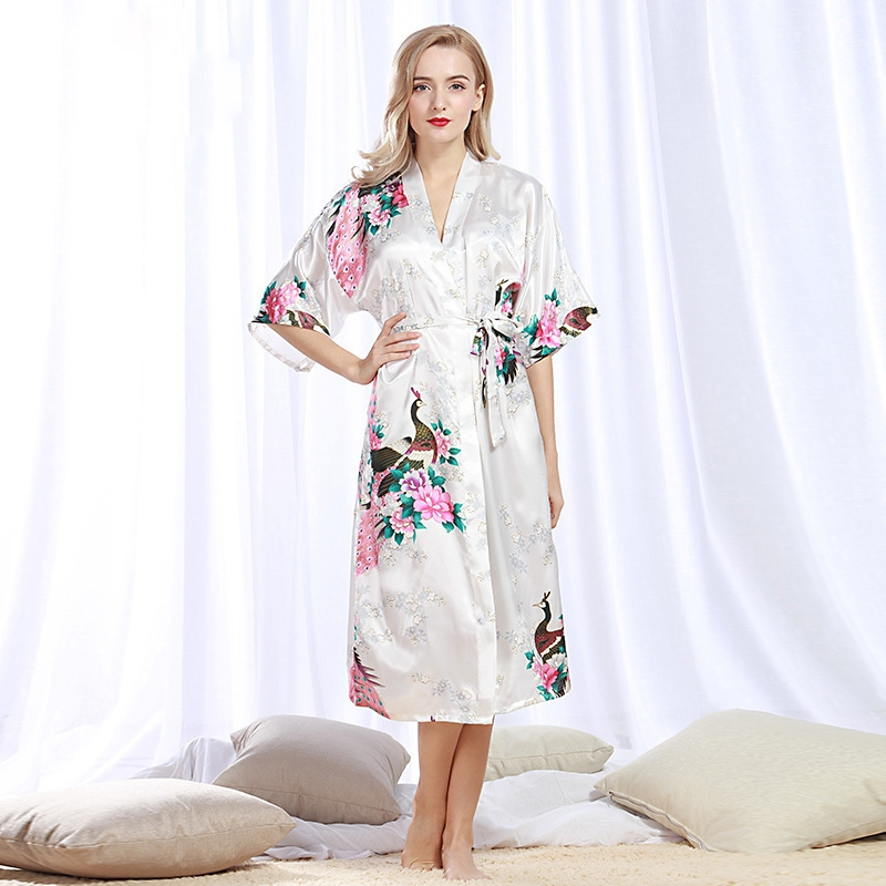 997d03ce76 Robe Wedding pajamas Floral Bath Robe Night sexy cardigan Peacock Fashion  For Women simulation silk white m  Product No  1631652. Item specifics   Seller ...
