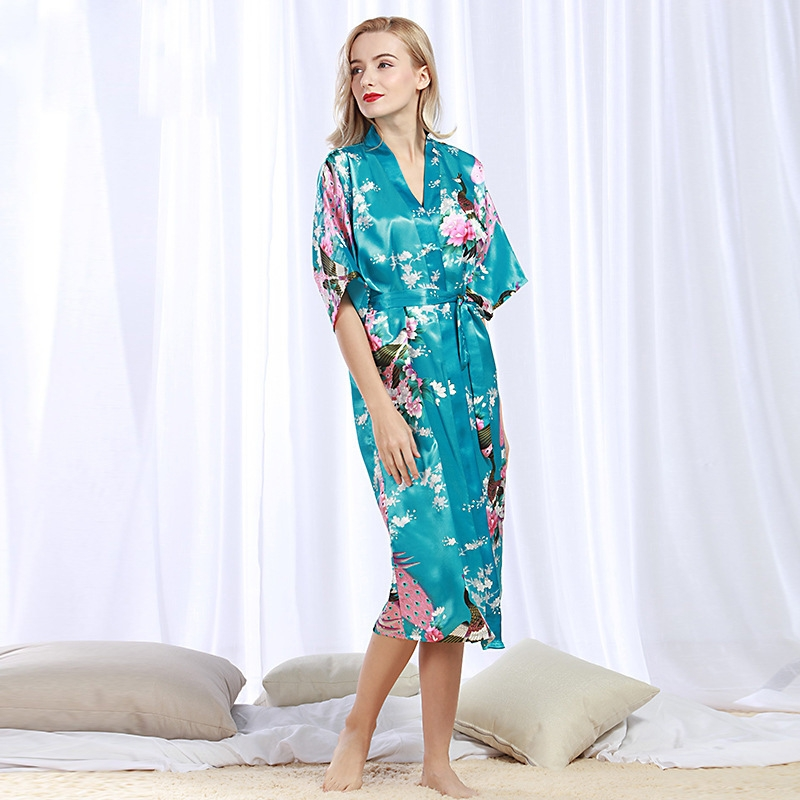 82b2186c5f Robe Wedding pajamas Floral Bath Robe Night sexy cardigan Peacock Fashion  For Women simulation silk light blue 3XL  Product No  1631633. Item  specifics ...