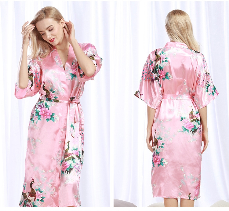 82224fb761 Robe Wedding pajamas Floral Bath Robe Night sexy cardigan Peacock ...