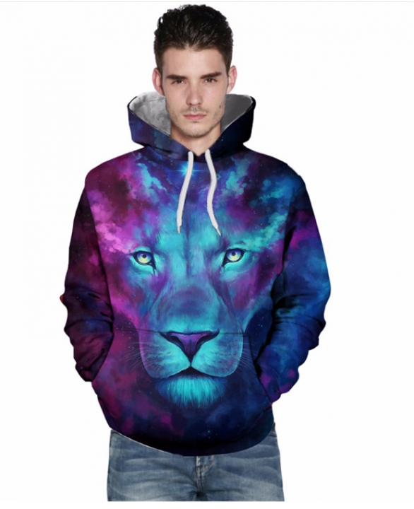 men wolf 3D digital printing hooded sweater sets of sweaters fashion clothes tight blue xxl