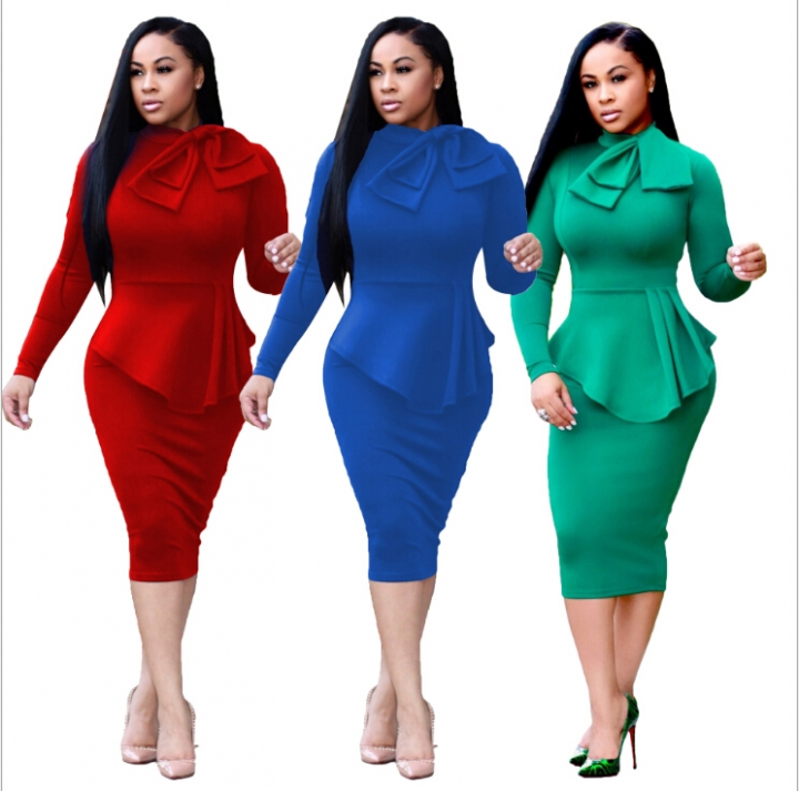 women long dresses noble skirt new style OL long sleeve dress office wear S-XL blue xl