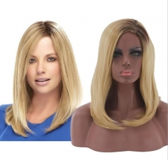 women mid-length wigs golden wigs 2018 fashion style synthetic hair little wave wigs noble style as picture normal