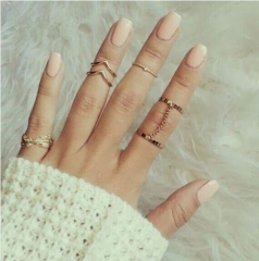 women simple rings set golden rings women jewelry noble elegant golden nomal