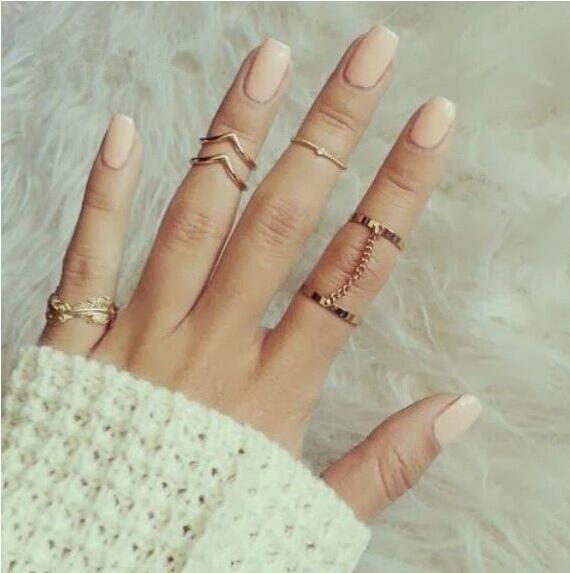 women simple rings set golden rings women jewelry noble elegant golden nomal