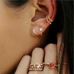 women earring set ring set red rhinestone rings Luna earring golden  rings golden earring golden nomal