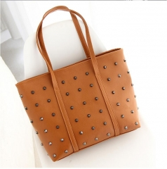 women handbag new style rivet handbag high capacity  PU leather bag lady's should bag two color brown nomal
