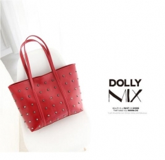 women handbag new style rivet handbag high capacity  PU leather bag lady's should bag two color red nomal