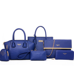 Women Lady's 6 Pcs Office business High Quality Shoulder Bag Handbag wallet Sets Blue Bag 6 PCS