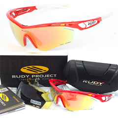 Rudy High Quality Outdoor Fashion Cycling Men UV400 Glasses Goggles Sport Sunglasses Cycling Eyewear Normal red