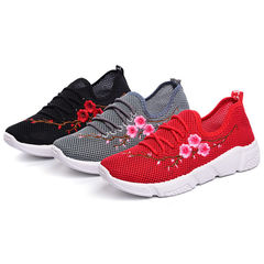 New Fashion embroidery light weight women's shoes women's sports shoes Black 36