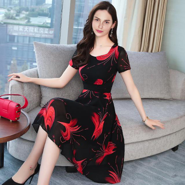 Promotion Summer Office Dress Party Dresses Women Half Sleeve Business Noble Skirt dress For Ladies m Red