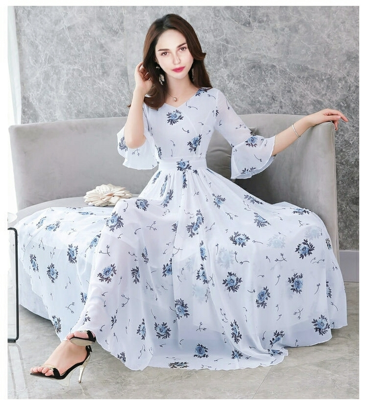 Women Half Sleeve Dresses  Long dress OL Dresses Summer Party Dresses 3xl withe