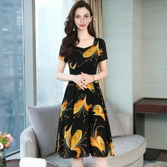 Promotion Summer Office Dress Party Dresses Women Half Sleeve Business Noble Skirt dress For Ladies m yellow
