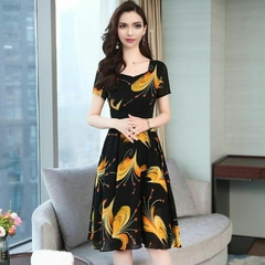 Popular Office Ladies 2019 Summer New Arrival Business Noble Fashion Dress Dresses m black yellow