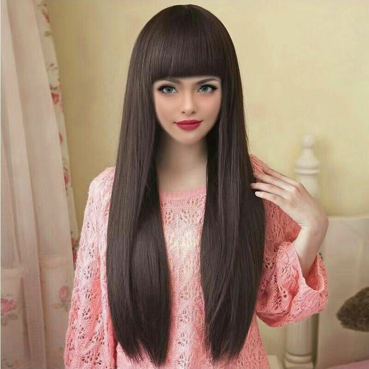 new arrival women straight long wigs straight hair synthetic elegant noble style  wigs black normal