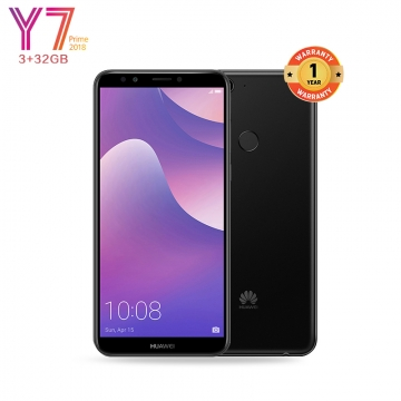 Huawei Y7 Prime 2018: 3+32GB -5.99 inch-13MP-Face unlock+Selfie Flash-2 Sim+1 SD Slot- CPU-Octa-Core Black