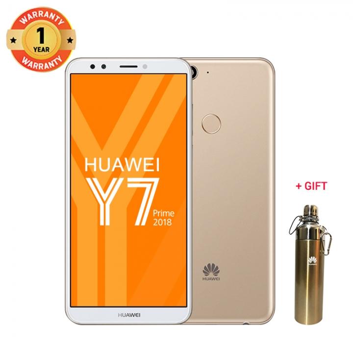 Huawei Y7 Prime (2018) + free gift : 3+32GB -5.99 fullscreen-13+8MP-Dual SIM-3000mAh-- Smartphone Gold