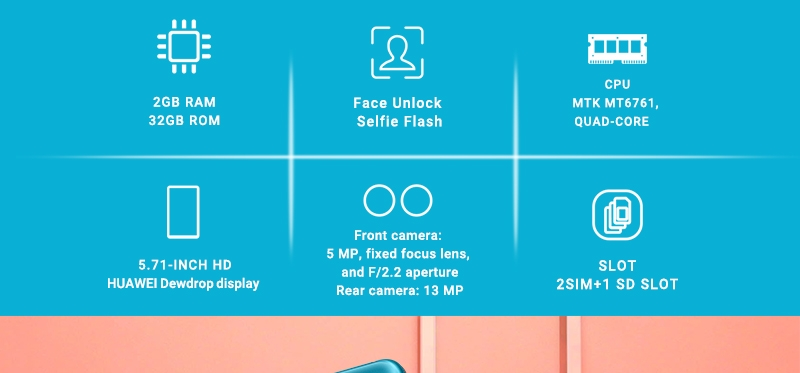 HUAWEI Y5 2019,  2GB RAM + 32 GB ROM Smartphone + Free Selfie Stick sapphire blue 2